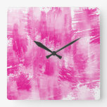 Hot Pink White Abstract Square Wall Clock