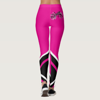 Hot Pink, White and Black Cheerleader Megaphone Leggings