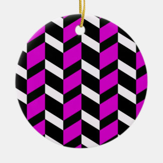 Hot Pink, White and black chevron Ceramic Ornament