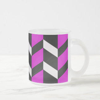 Hot Pink, White and black chevron Frosted Glass Coffee Mug