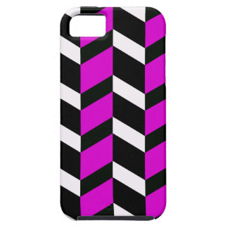 Hot Pink, White and black chevron iPhone SE/5/5s Case