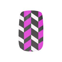 Hot Pink, White and black chevron Minx Nail Wraps