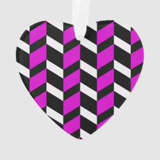Hot Pink, White and black chevron Ornament