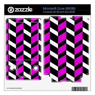 Hot Pink, White and black chevron Decals For The Zune