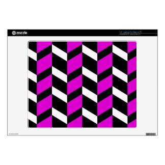 Hot Pink, White and black chevron Skin For Laptop