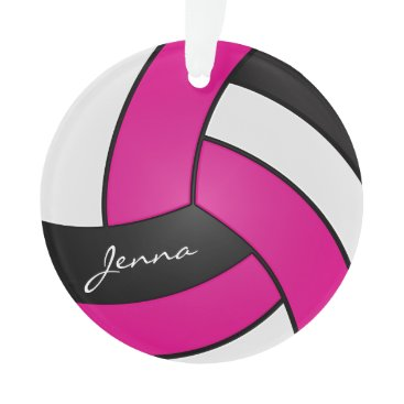 Beach Themed Hot Pink, White and Black Volleyball Ornament