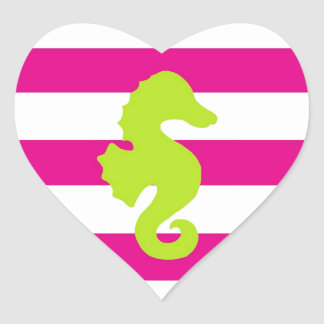Hot Pink White and Green Seahorse Heart Sticker