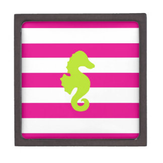 Hot Pink White and Green Seahorse Premium Trinket Boxes