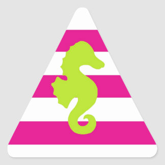 Hot Pink White and Green Seahorse Triangle Sticker