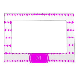 Hot Pink White Aztec Arrows Monogram Magnetic Frame
