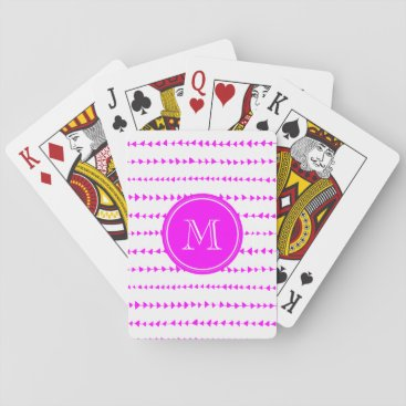 Aztec Themed Hot Pink White Aztec Arrows Monogram Playing Cards