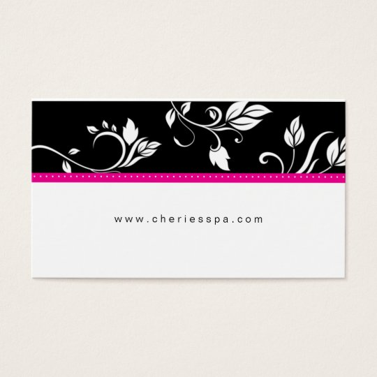 Hot Pink White Black Floral Trendy business card