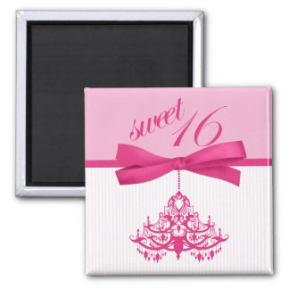 Hot Pink & White Chandelier Sweet Sixteen Magnet