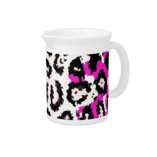 Hot Pink White Cheetah Pitcher