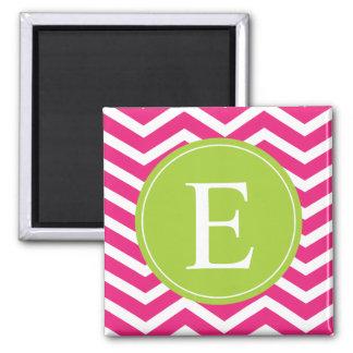 Hot Pink White Chevron Green Monogram 2 Inch Square Magnet