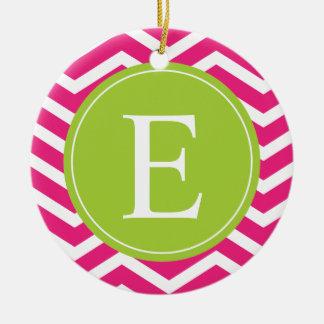 Hot Pink White Chevron Green Monogram Ceramic Ornament