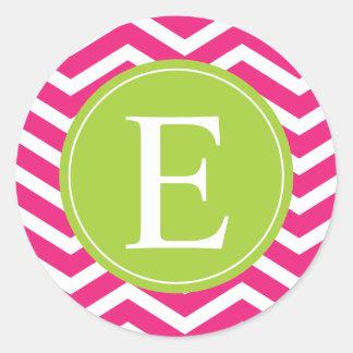 Hot Pink White Chevron Green Monogram Classic Round Sticker