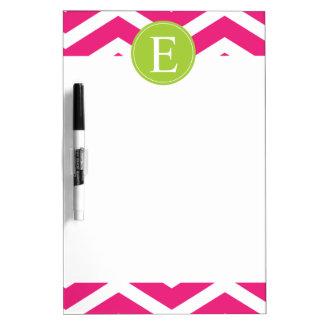 Hot Pink White Chevron Green Monogram Dry Erase Board