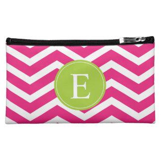 Hot Pink White Chevron Green Monogram Makeup Bag