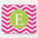 Hot Pink White Chevron Green Monogram Mouse Pad