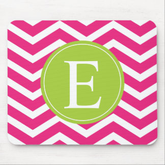 Hot Pink White Chevron Green Monogram Mouse Pad