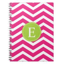 Hot Pink White Chevron Green Monogram Notebook