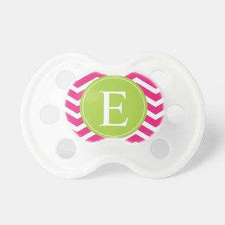 Hot Pink White Chevron Green Monogram Pacifier