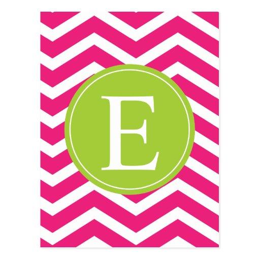 Hot Pink White Chevron Green Monogram Postcards