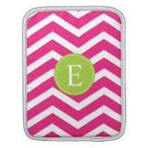 Hot Pink White Chevron Green Monogram Sleeve For iPads