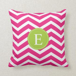 Hot Pink White Chevron Green Monogram Throw Pillow