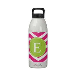 Hot Pink White Chevron Green Monogram Reusable Water Bottles
