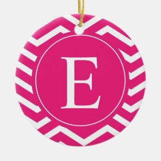 Hot Pink White Chevron Monogram Ceramic Ornament