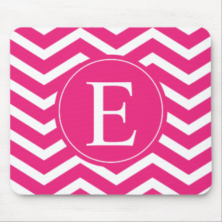 Hot Pink White Chevron Monogram Mouse Pad
