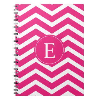 Hot Pink White Chevron Monogram Notebook