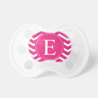 Hot Pink White Chevron Monogram Pacifier