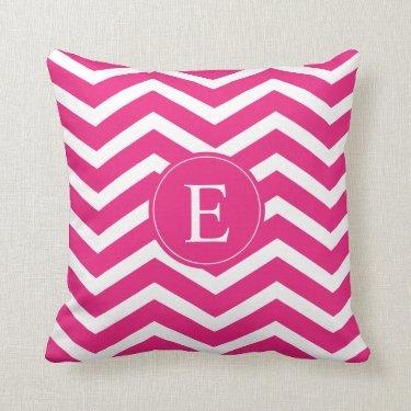 Hot Pink White Chevron Monogram Throw Pillows