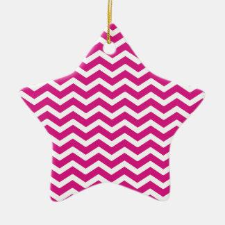 Hot Pink White Chevron Pattern Ceramic Ornament