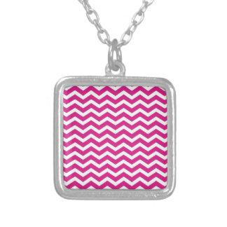 Hot Pink White Chevron Pattern Square Pendant Necklace