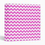 Hot Pink White Chevron Zig-Zag Pattern Vinyl Binder
