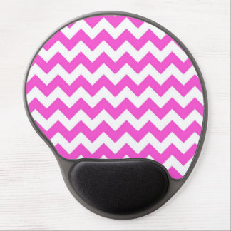Hot Pink White Chevron Zig-Zag Pattern Gel Mouse Pad