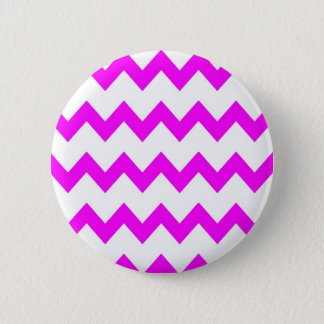 Hot Pink White Chevrons Button