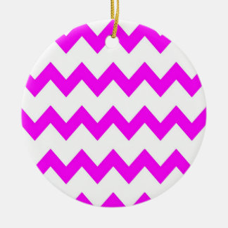 Hot Pink White Chevrons Ornament