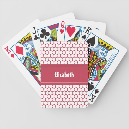 Hot Pink White Custom Personalized Name Geometric Bicycle Playing Cards