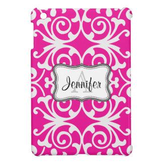 Hot Pink & White Damask monogram iPad mini case