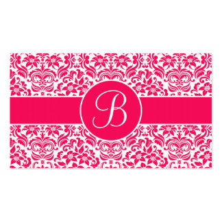 Hot Pink & White Damask Wedding Gift Registry Card Business Card Template