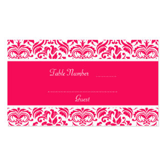Hot Pink & White Damask Wedding Table Place Cards Business Card Templates