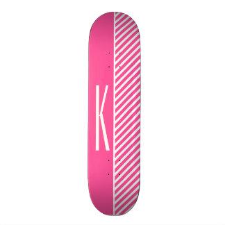 Hot Pink & White Diagonal Stripes Skate Board