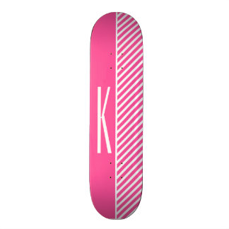 Hot Pink & White Diagonal Stripes Skateboard