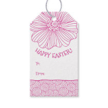Hot Pink White Flower Swirls Easter Gift Tags