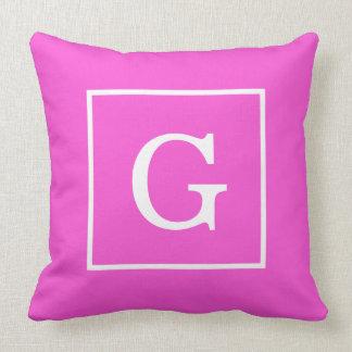 Hot Pink White Framed Initial Monogram Pillows